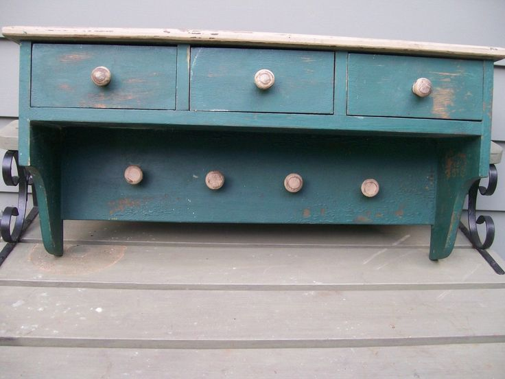 Primitive Antique Solid Wood Wall Shelf with 4 Drawers and Pegs Old Green Paint | eBay