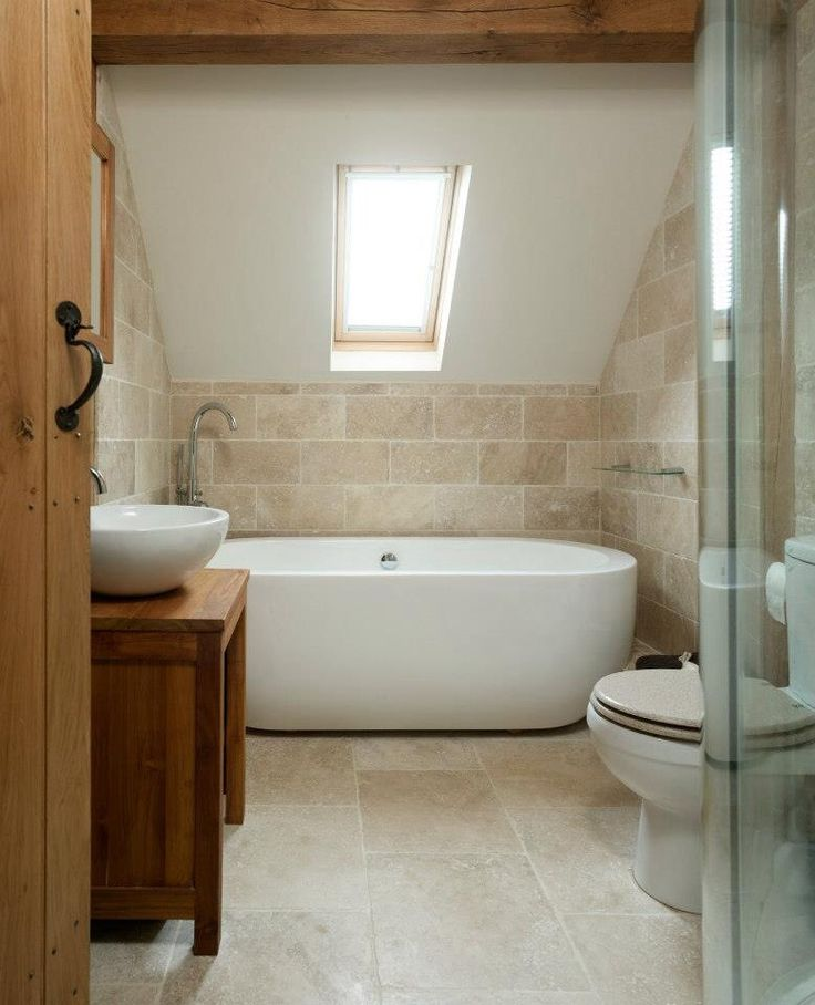 Main Bathroom The Rustic Stone And Simple Modern Tub And Sink Surprisingly Complement Each Other Gorgeously