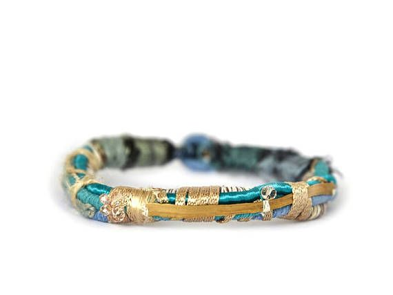 Blue and gold woven silk contemporary bangle Rope bracelet