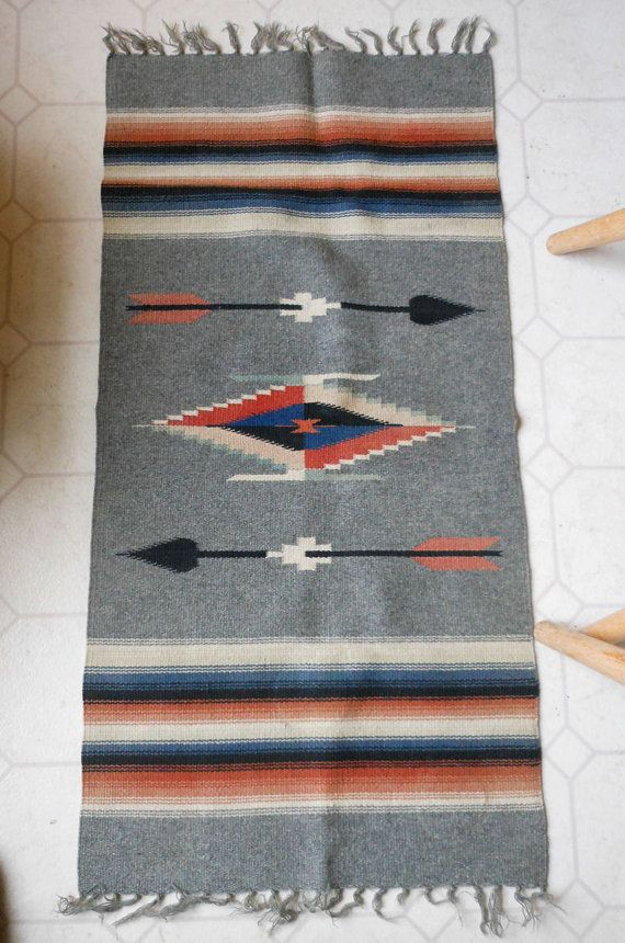 Old Hand Woven Mexican Rug Or Table Runner By