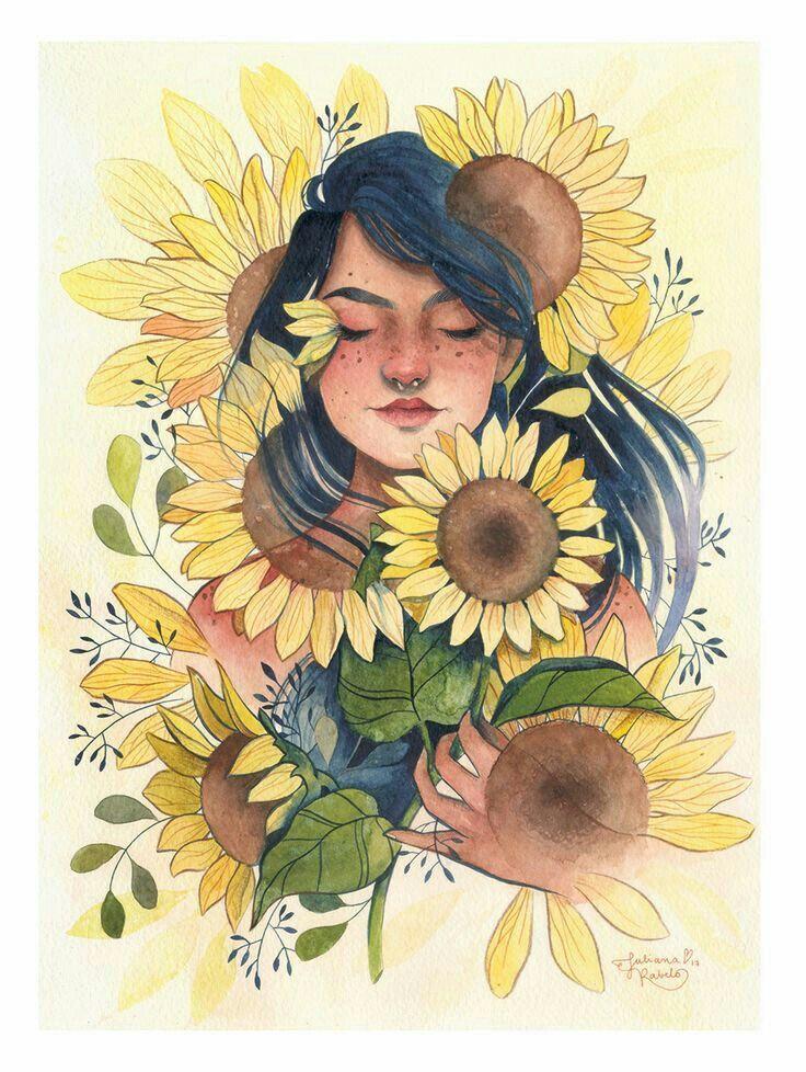 Girasoles | Ilustraciones artísticas, Girasoles dibujo, Dibujos