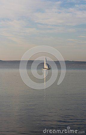 Beautiful Lake Balaton with a boat