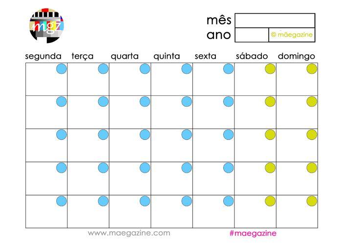 pdf para organizar o mês #maegazine #calendário