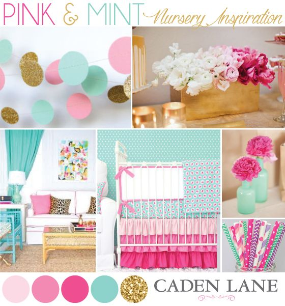 Bright Pink & Mint Nursery Inspiration - How to Decorate a Bright Nursery   Caden Lane