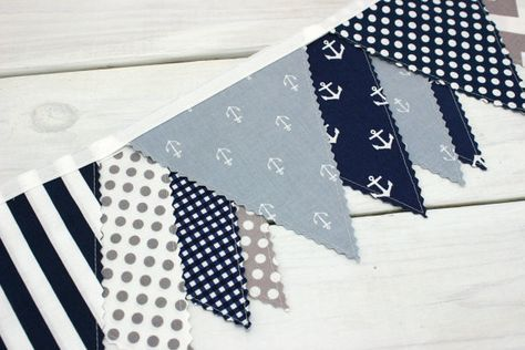 Bunting Banner, Photography Prop, Fabric Flags, Nautical Nursery Decor - Gray, Navy Blue, Chevron, Stripes and Anchors - Ready to Ship