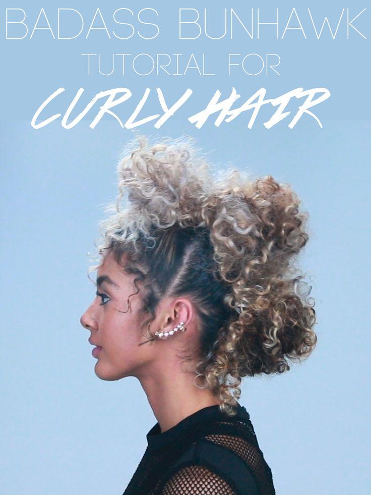 Badass Bunhawk tutorial for curly hair