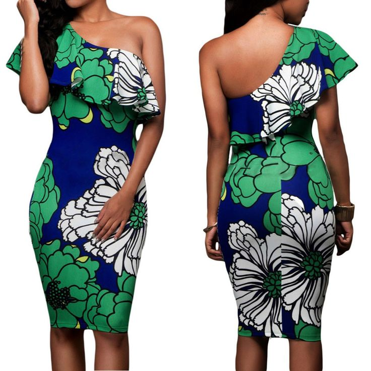 Ravishing Off One Shoulder Ruffle Top Floral Print Bodycon Party Dress