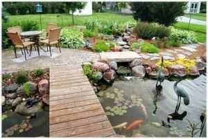Outdoor Pool With A Relaxed And Wooden Bridge, Which Is Good For Garden Decoration In Your Home