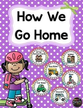 "This is a great transportation set to display in your classroom. Just add a clip and attach to a ribbon! SO CUTE! There are 8 signs to choose from! Included is: 2 ""How We Get Home"" signs Biker (girl) Biker (boy) Walker Biker/Walker Car Rider Daycare After"