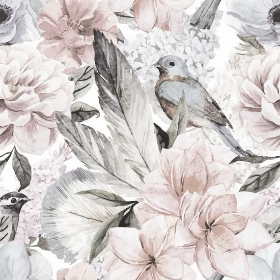 Floral Wallpaper Neutral Flowers Self Adhesive Fabric Wallpaper Removable Repositionable Reusable Easy Peel Stick R0016 Floral Wallpaper Fabric Wallpaper Flower Nursery Decor