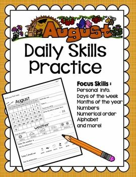 .  The layout is ideal for a variety of learners such as spd reviewed. This set has the August 2014 calendar but will be updated each year. ==================================================       The August calendar is now updated to the 2015-2016 school year.:)==================================================The August s...