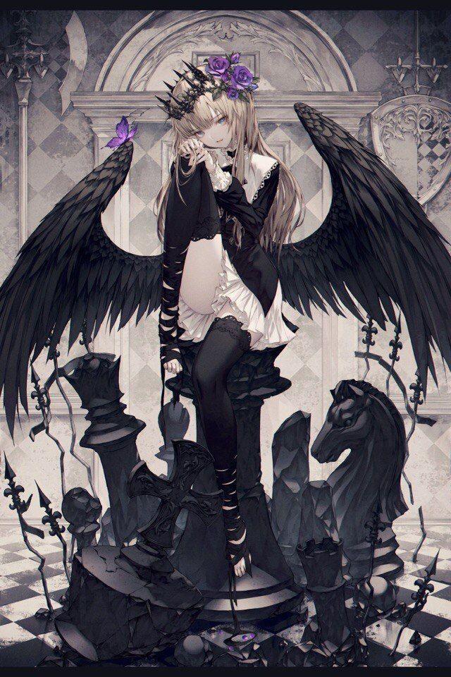 Аниме картинки девушек черных ангелов