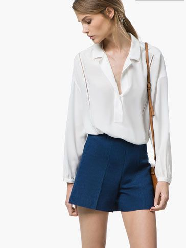 Open Work Loose Blouse by Massimo Dutti #flowing #white
