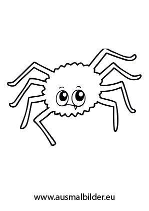Ausmalbild Halloween - Fragende Spinne Halloween