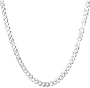 JewelryAffairs 14k White Gold Comfort Curb Chain Necklace, 3.6mm, 24 Inch.