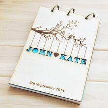 Personalizzato wedding guest book, rustico wedding guestbook album, in legno su misura regalo di anniversario di fidanzamento, matrimonio cava libro(China (Mainland))