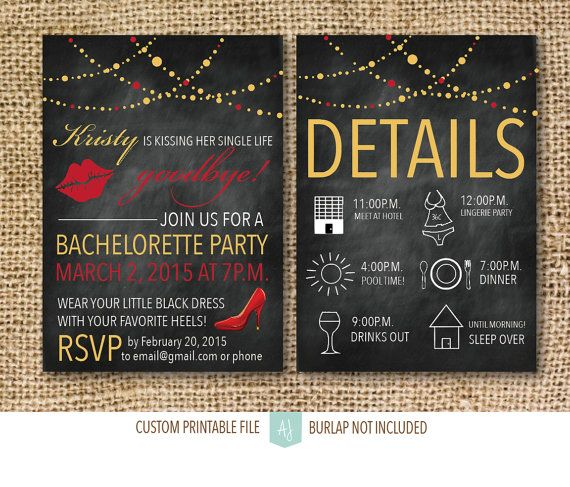 Bachelorette or Hen Party Invitation- Printable File- Chalkboard Invite- Digital Invitation- Kissing her Single Life Goodbye