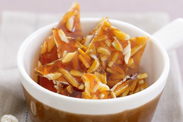 Three simple ingredients is all it takes to create golden shards of crispy almond praline.