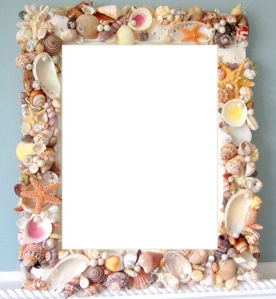 Beach Decor Seashell Frames  Nautical Decor by beachgrasscottage, $139.00 - DIY to powder room mirror?