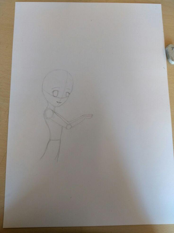 6 september: Vandaag ben ik op een groot blad begonnen met tekenen. Ik had moeite met de proporties.Ik vond het lichaam zelf best makkelijk om te tekenen, dit ging dus ook best wel makkelijk. Ik ben nog niet blij met het hoofd dus die ga ik veranderen de volgende les.