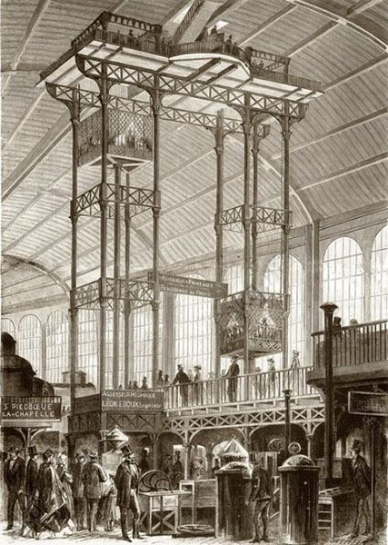 World's Fair of 1867 The hydraulic lift of Leon Edoux, National Library of France.