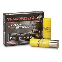 "Winchester Supreme Elite, 20 Gauge, 2 3/4"", Dual Band Shotgun Slugs, 260 Grain, 5 Rounds:… #militarysurplus #ammo #outdoor #hunting"