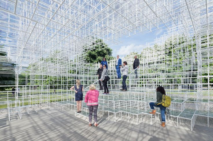 Sou Fujimoto's 2013 Serpentine Pavilion, now complete and standing on the front lawn of London's Serpentine Gallery, ...