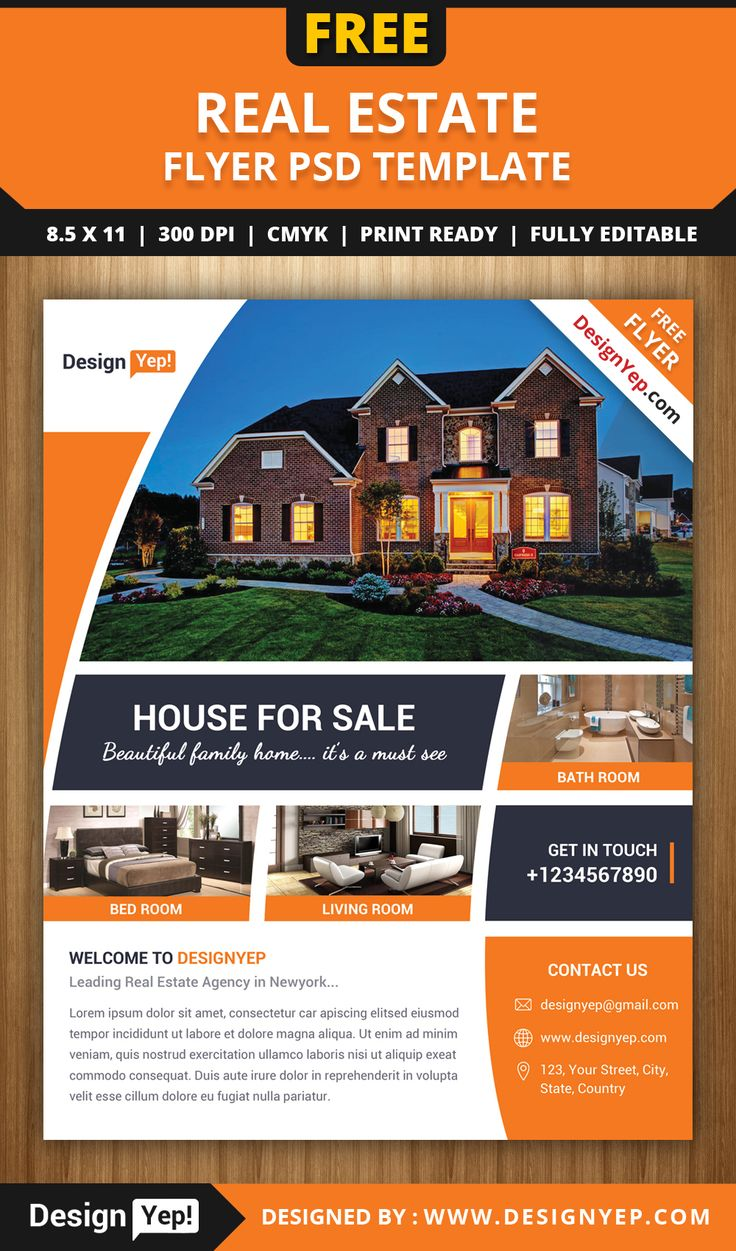 Free real estate flyer psd template 7861 designyep free for Property brochure template