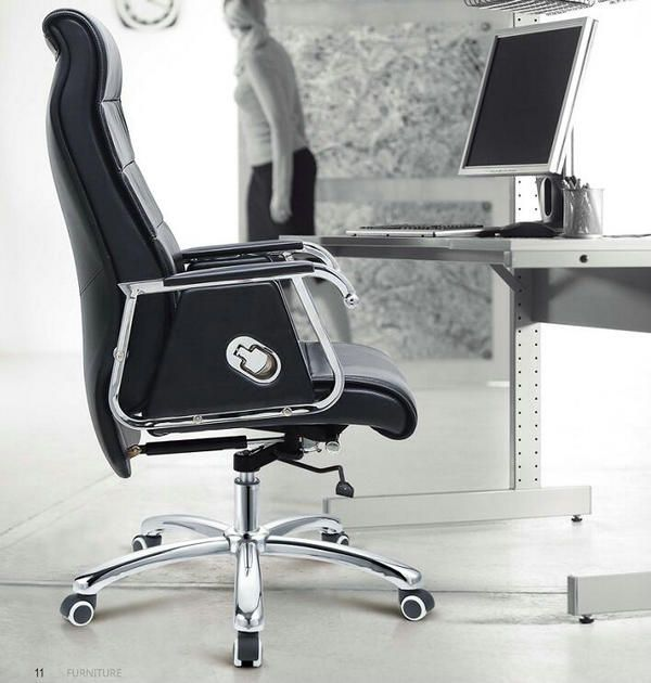 Canton Fair Fashion Luxury Modern Genuine Ergonomic Executive Swivel Black Leather Office Chair