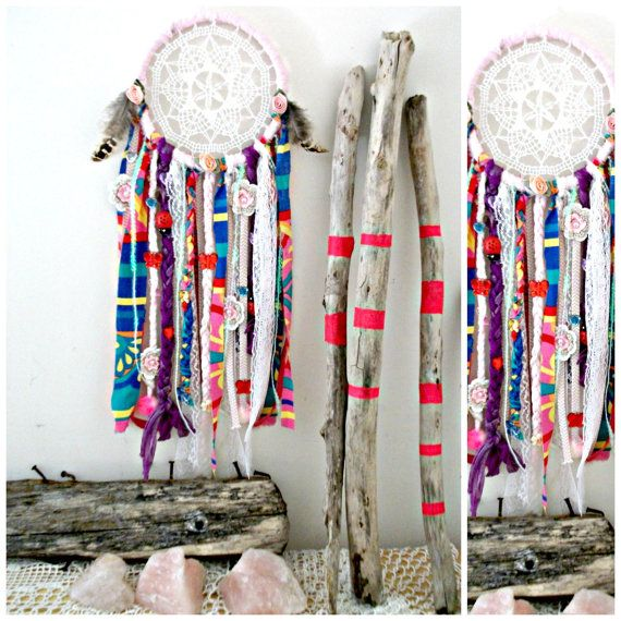 VENTA VENTA ***** Bug Pink Garden Naturaleza Boho estadounidense Gypsy Hippie dormitorio textil dreamcatcher del nativo americano tribal