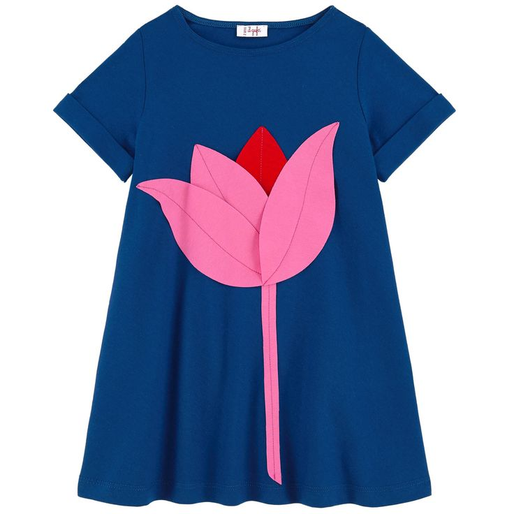 Платье с аппликацией в виде цветка