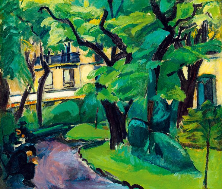 DÉNES VALÉRIA (1877 - 1915) Painting:  A Parisian scene in the park of Cluny with people sitting on benches and a the Cluny Café in the background by Kieselbach gallery