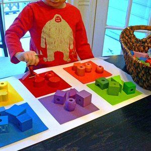 """Two words to start using with your preschooler right now. SORT and CLASSIFY I promise they will pick up these words just as easily as they can decode a smartphone. 🌈Block Play Color Sort is another great way to get your preschooler thinking. 👉🏼But try this. •Add blocks to a basket. •Add colors on the table. 🤓Now watch what your preschooler decides to do. 👀See your preschooler moving the blocks to the same color? 🗣Say, as you sip your coffee, """"oh, look at that! You are sorting by…"""