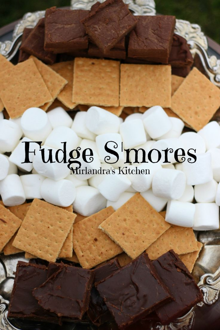 Our new favorite way to make S'mores is with fudge!  We have crazy easy recipes for chocolate fudge and chocolate peanut butter fudge that require little stirring, no thermometer and just a few minutes.  I make a batch of each and toss together a platter of goodies to assemble around the fire pit.  Life made perfect.