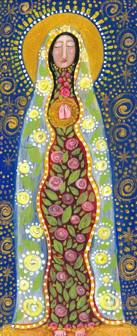folk art madonna with rose dress...print.... rose walton... approx 5x7 on 8x10 archival paper