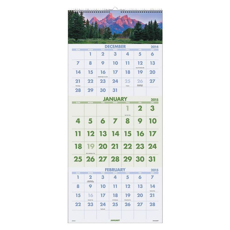 At-A-Glance Scenic Three-Month Wall Calendar, 12 x 27, 2016-2018, White/Multi-Colored
