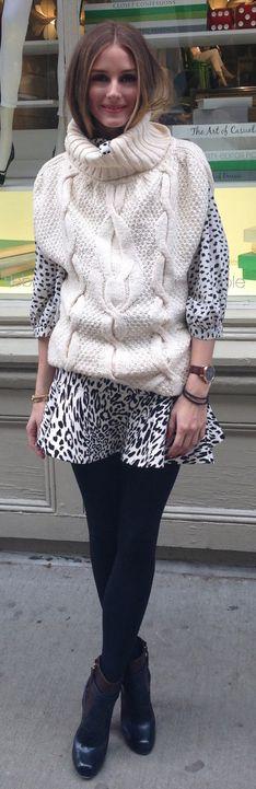 Olivia Palermo: Sweater – Club Monaco  Skirt – Zara  Shirt – Joie  Shoes – Aquazzura