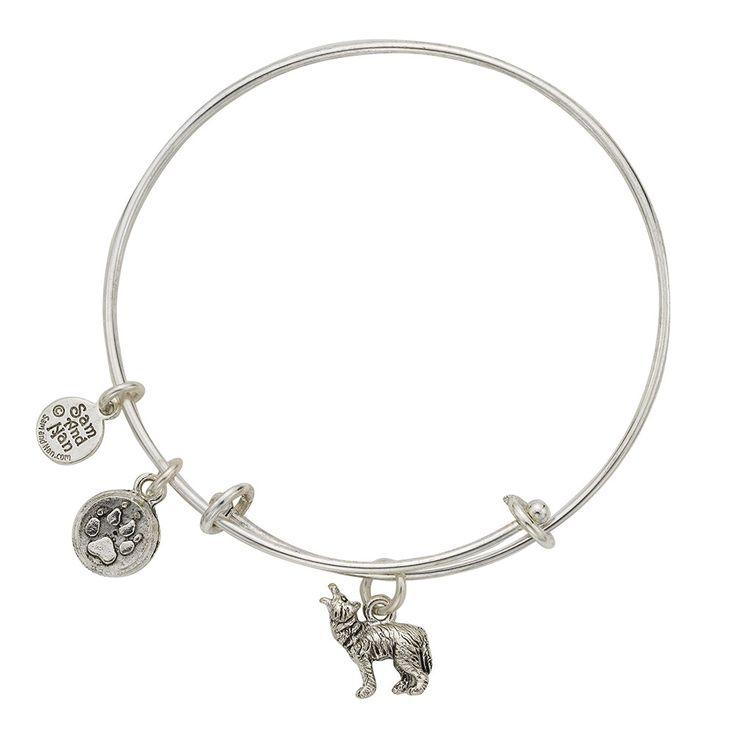Wolf Charm Silver Bangle Bracelet