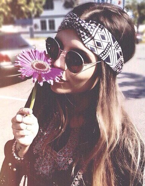 Modern hippie chic headband and round John Lennon sunglasses, flower power gypsy jewelry. For the BEST Bohemian fashion trends FOLLOW http://www.pinterest.com/happygolicky/the-best-boho-chic-fashion-bohemian-jewelry-gypsy-/