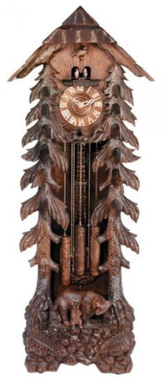Amazing carved Grandfather Cuckoo clock