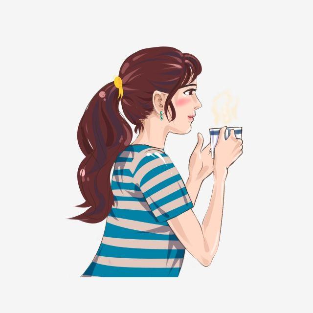 Gambar Kartun Wanita Png Wanita Kartun Yang Minum Unsur Sampingan Kopi Minum Kopi Wanita