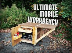Ultimate Mobile Workbench - This design incorporates a vertically adjustable and expandable workbench top that allows you to bolt-down larger bench-top power tools, a ton of interior storage via shelves, drawers and a pegboard wall, and a sturdy tank-like structure that provides safety and dependability in a mobile form that allows you to work on your projects virtually anywhere.