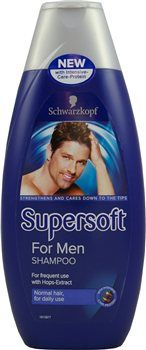 Schwarzkopf Supersoft For Men Shampoo Schwarzkopf Supersoft For Men Shampoo For normal hair. The formula with Hops-extract cleanses the hair giving it strength and volume: Strengthens the hair from the roots down For stronger hair with na http://www.MightGet.com/january-2017-12/schwarzkopf-supersoft-for-men-shampoo.asp