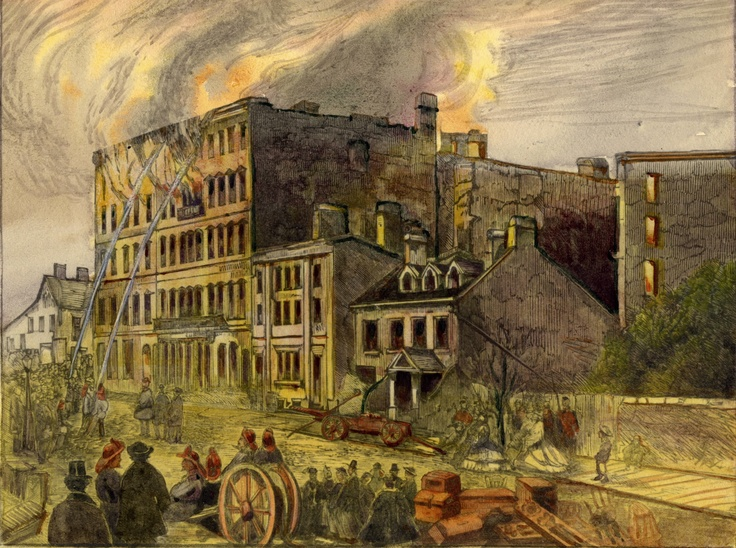 In the mid 19th-Century, Rossin House Hotel was one of the most prestigious hotels in Toronto and one of the early city's tallest structure. Located at the southeast corner of King and York Streets in Toronto, it was originally built in 1856. As this picture shows, it was destroyed by a fire in 1862 and re-built the following year.