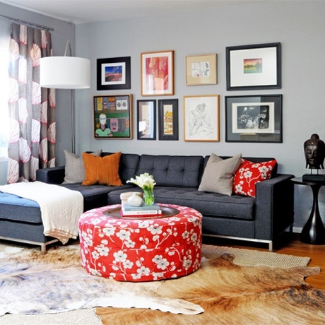 Grey and red - Ore Studios | Interior Design | Spruce Street  #living-room