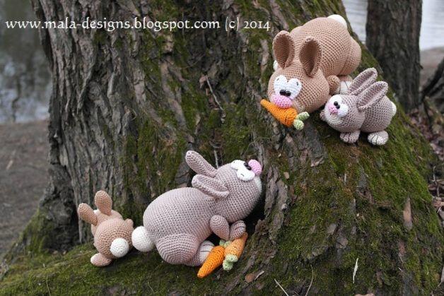 Häkelanleitungen - Häschenfamilie - Ostern 2014,Häkelanleitung - ein Designerstück von Mala-Designs bei DaWanda