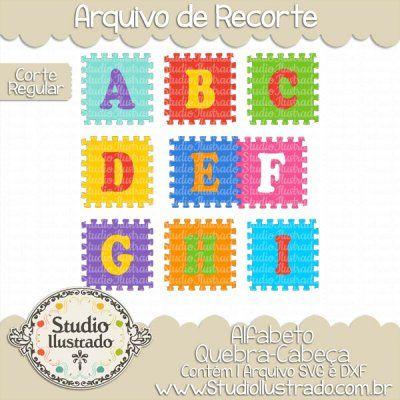 Puzzle Pieces Alphabet, Alfabeto Peças de Quebra-Cabeça, A à I, Fonte, Font, Letras, Letters, Corte Regular, Regular Cut, Silhouette, DXF, SVG, PNG