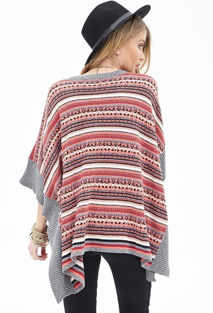 Fair Isle V-Neck Poncho - perhaps this kind of shape is an amazing canvas for stranded colourwork ideas celebrating the turbo amazing Missy Elliott?