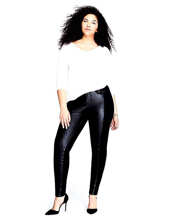 99d0caf034 1826 Faux Leather Black Stretch Women s PLUS SIZE SKINNY Ponte PU PANTS  Clubwear (14) at Amazon Women s Clothing store