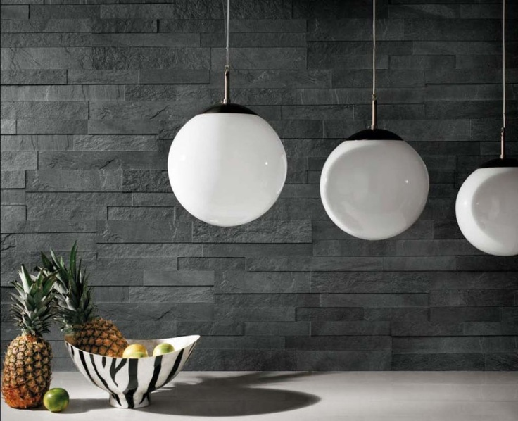Stockholm piastrelle effetto pietra svart realizzazione for Rivestimento cucina